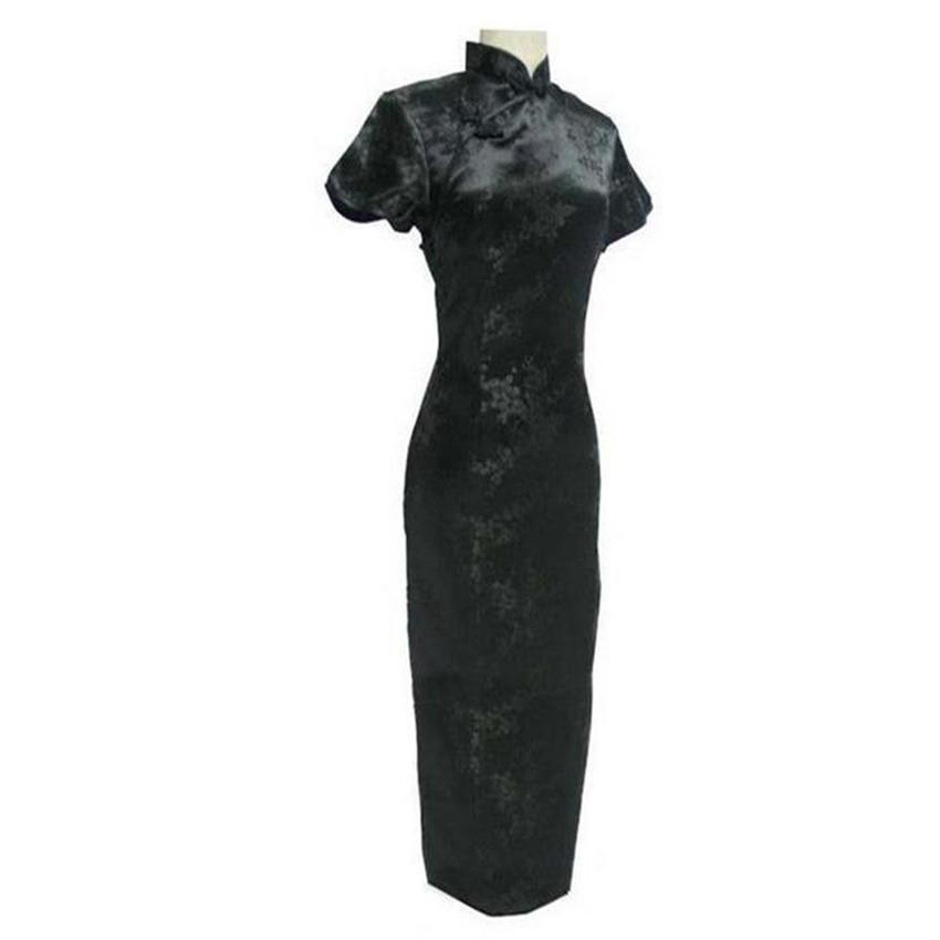 Black Chinese Traditional Dress Sexy Women Satin Qipao Long Cheongsam  Flower Plus Size S M L XL XXL XXXL 4XL 5XL 6XL LG04 Dresses Evening Dresses  for Skinny ... 460a7abf3422
