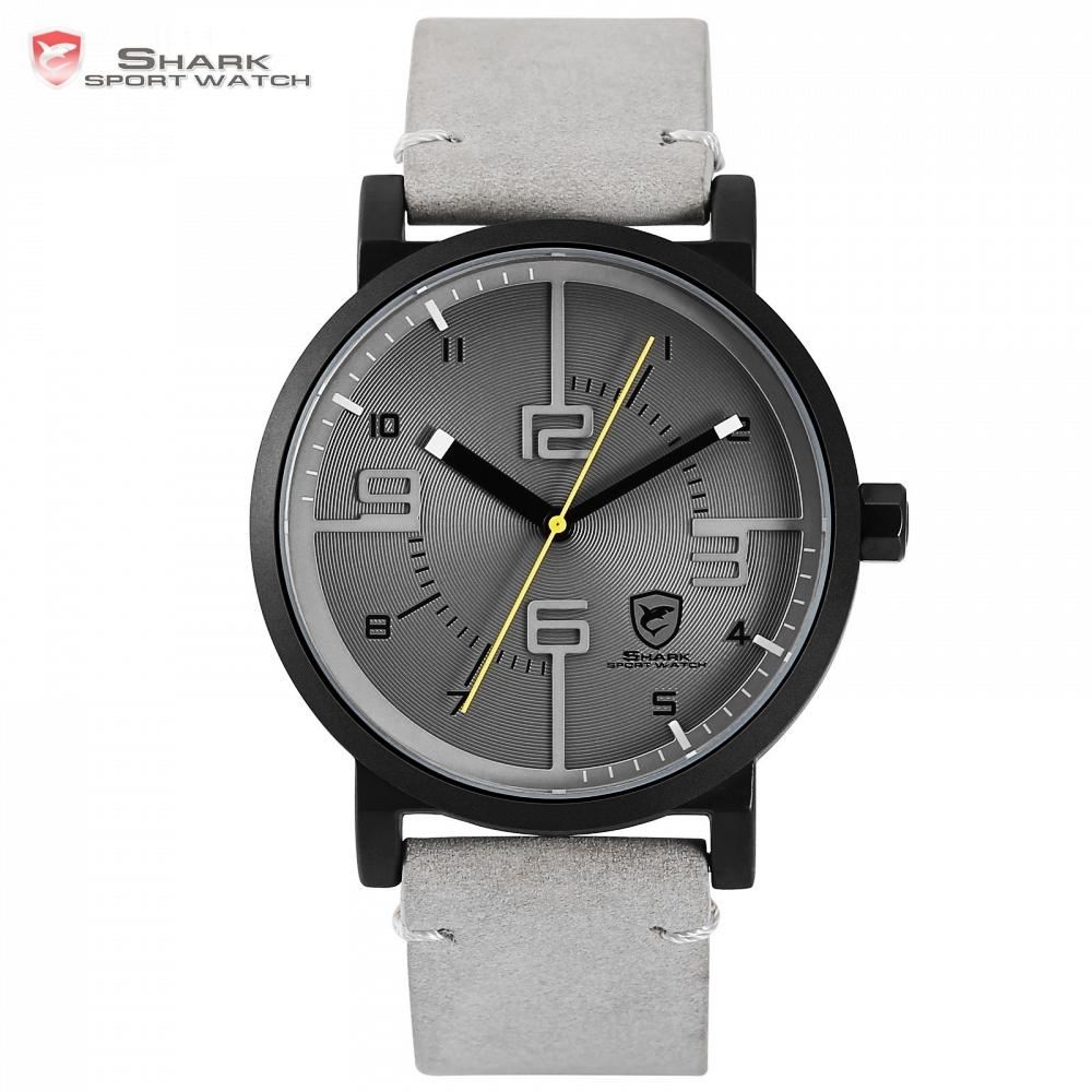 0fdb4ef2724 Bahamas Saw SHARK Sport Watch Grey Relogio Masculino Simple 3D Analog  Special Number Men Quartz Crazy Horse Leather Clock  SH571 Clearance  Watches High ...