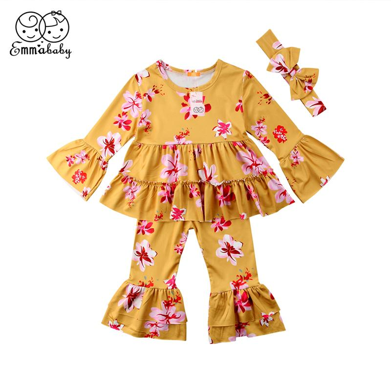 Emmababy 0-4Y Bambini Kid Baby Girl abbigliamento giallo floreale Ruffle abito manica lunga T-shirt flare Pantaloni ragazze Outfit Set