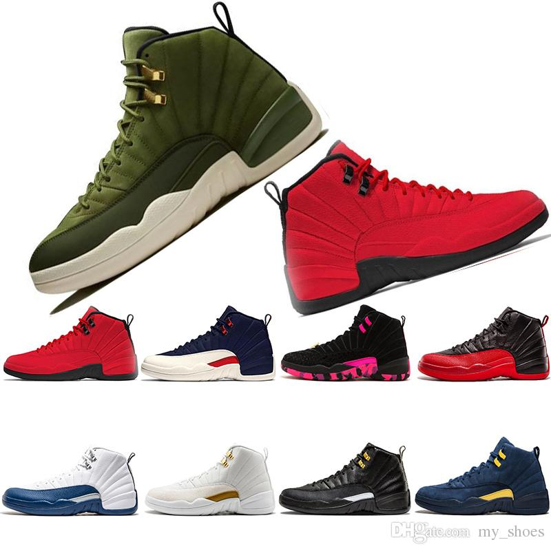 super popular e7d8f b0880 12 12s Graduation Pack Chris Paul Class Of 2003 olive canvas 2018 Men  Basketball Shoes Mens CP3 Michigan Taxi Flu Game UNC Sneakers