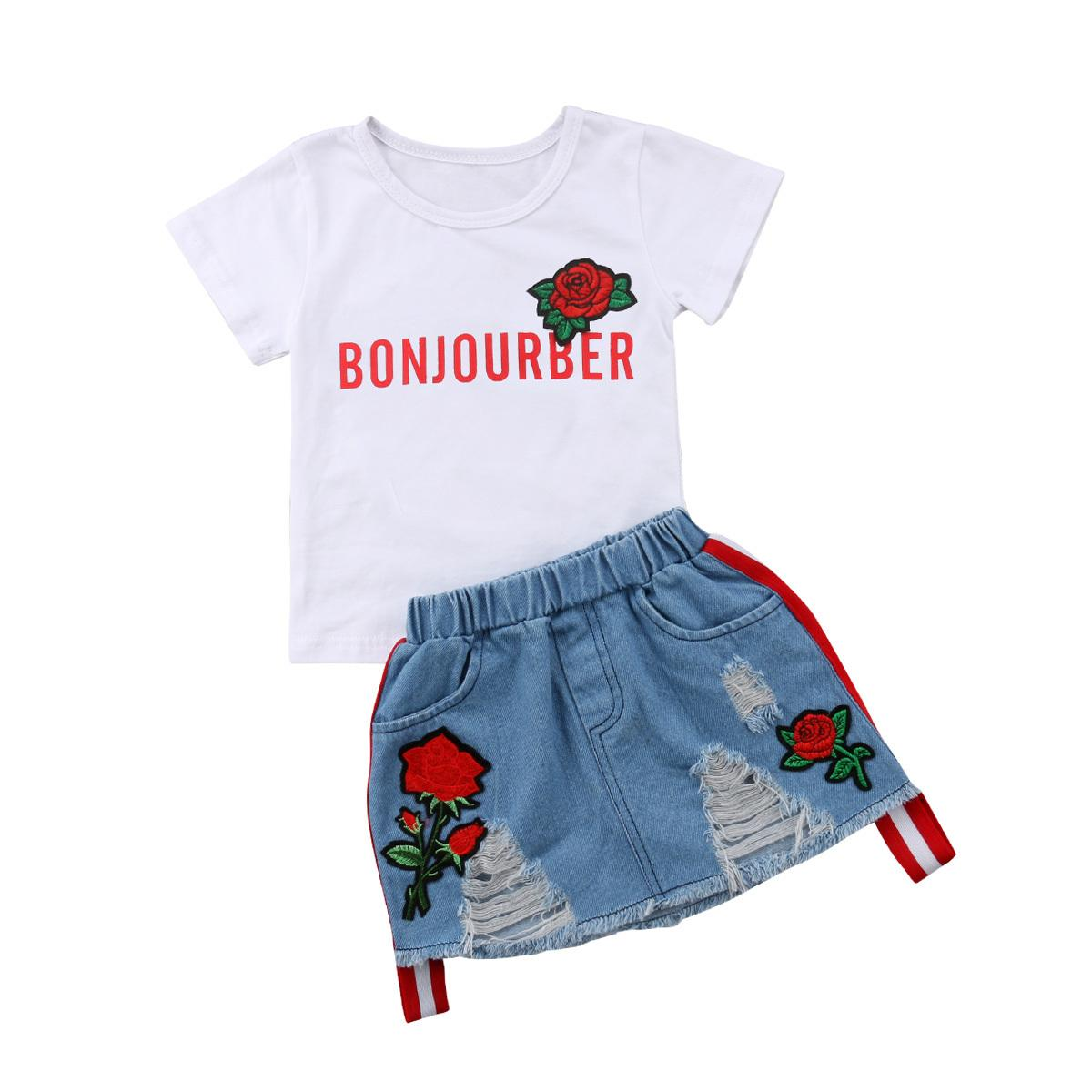 Mother & Kids Clothing Sets 2pcs Kids Baby Girls Clothes Fashion Letter Crop T-shirt Tops Pants Shorts Summer Cute Infant Toddlers Kids Outfits Set Volume Large
