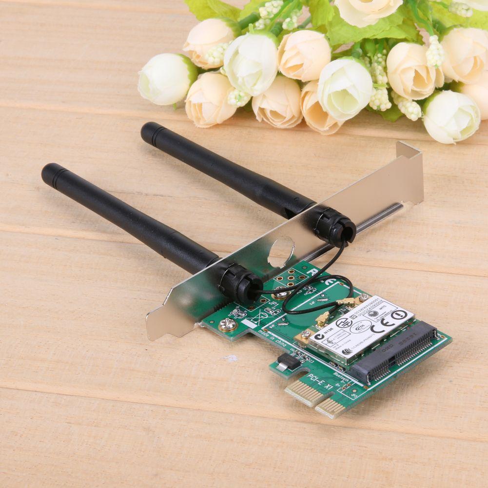 2 Anten Kablosuz Wifi 300 Mbps LAN Ağ PCI Express Adaptör Kartı ile 802.11B / G / N 32/64-bit PCIE konnektörü