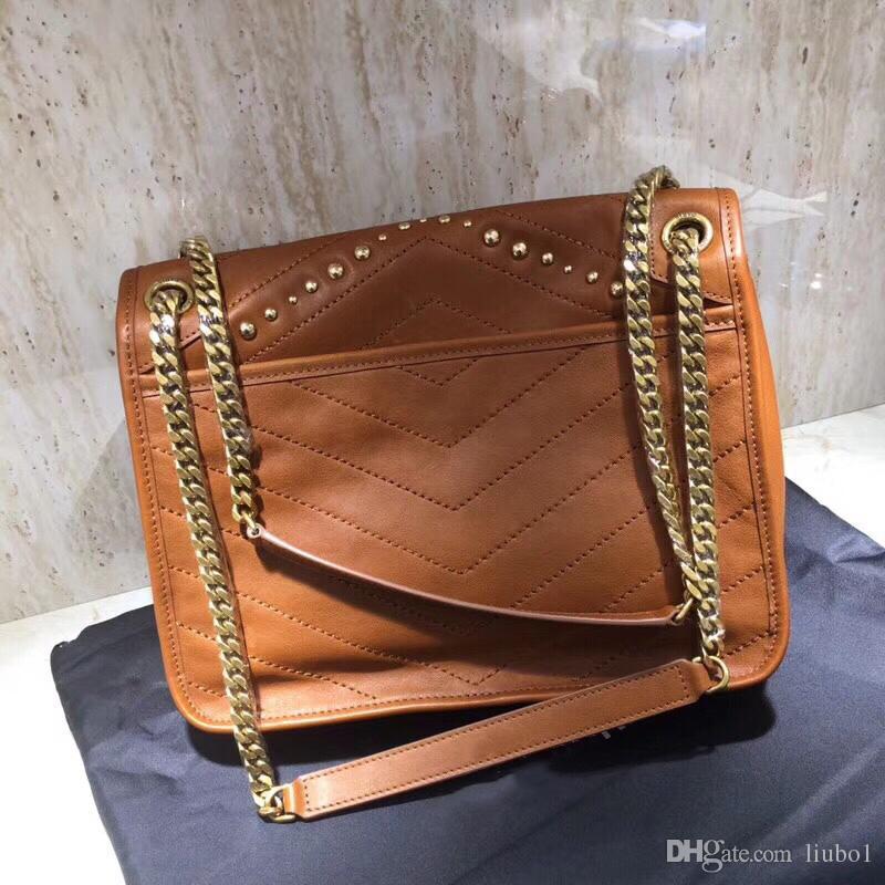 Luxus Designer y Nieten Frauen echte Leder Kette Schultertasche Original Qualität Damen Vintage Niki Tasche Mode Totes sl Umhängetasche