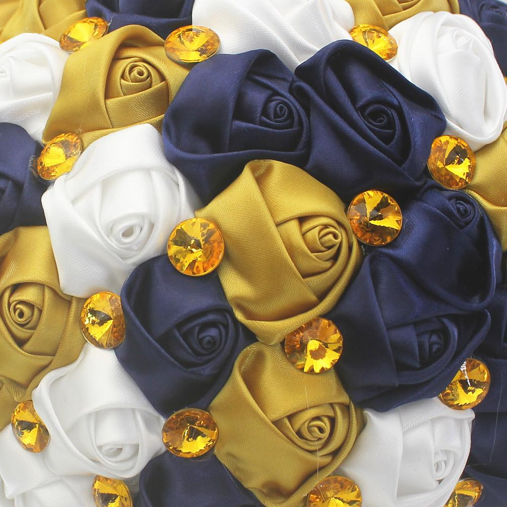 Factory Handmade Gold Color Acrylic rhinestone Bridal Bouquet Simple Satin ribbon Hand Holding Flowers Navy Wedding Bouquet W222