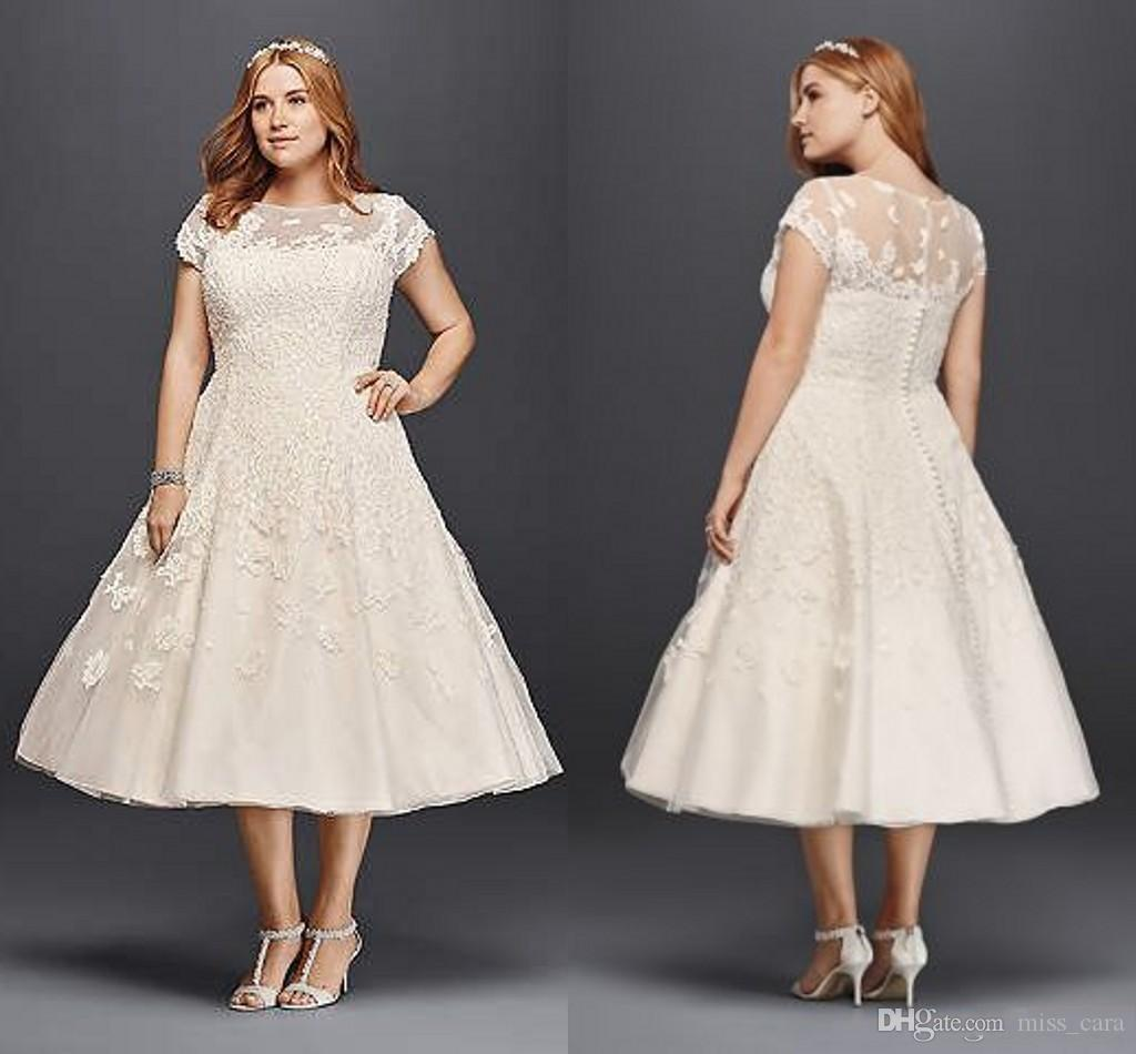 Vintage Tea Length Wedding Dresses Plus Size A Line 2018 Garden Outdoor  Oleg Cassini Short Sleeve Holiday Beach Sheer Back Bridal Gowns