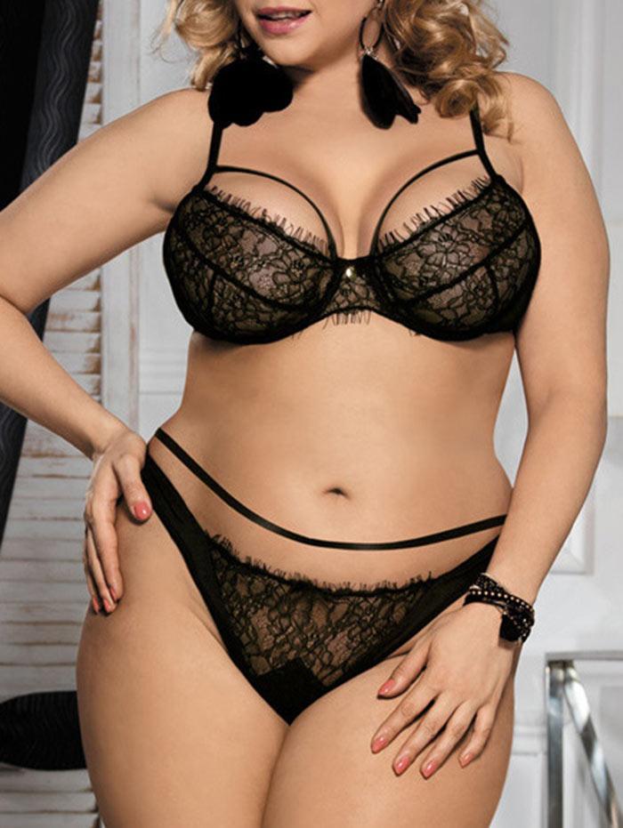 d25b8c1338 2019 Wipalo Plus Size Sexy Black Lace Bralette Briefs Set Underwire  Lingerie Balcony Women Bra Set Bras Adjustable Elegant Underwear From  Missher