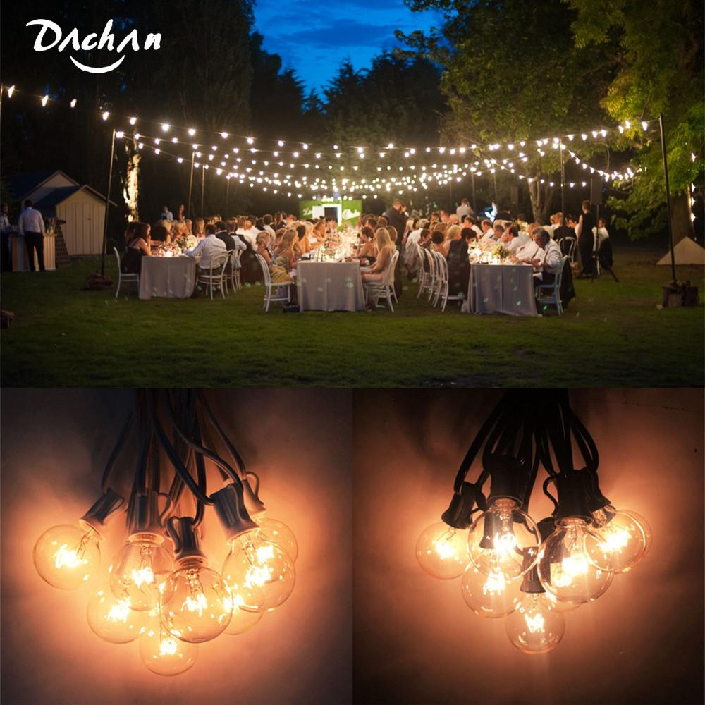 Outdoor String Lights Around Pool: DACHAN 11M Patio Lights G40 Globe Party Christmas String