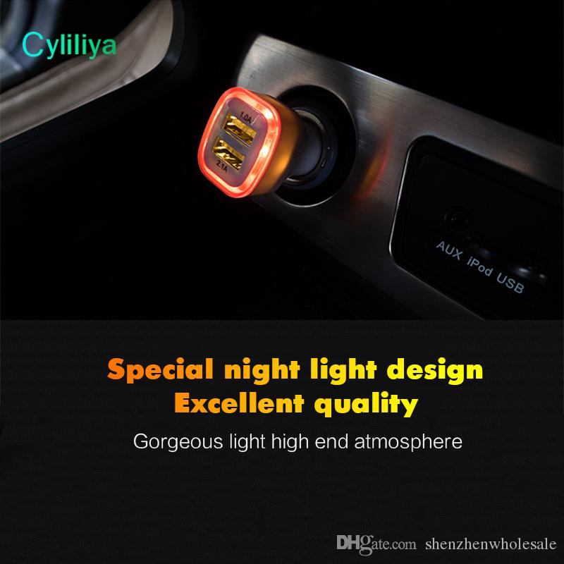 5V 2.1A Dual Car Charger Puertos USB Cargador adaptador de luz led para iphone XS Samsung s9 teléfonos inteligentes HTC HTC