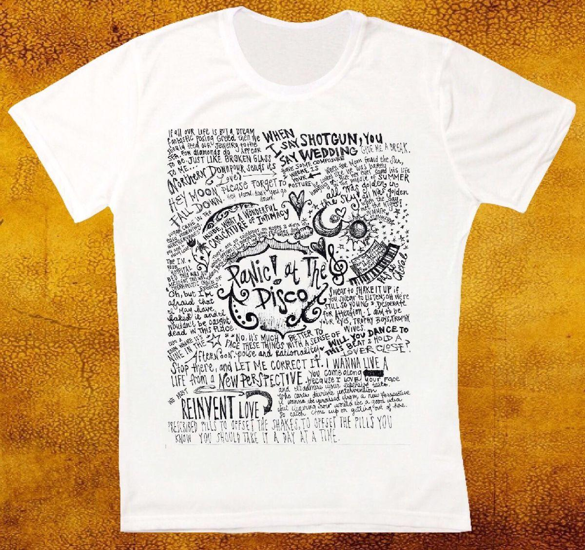 cff07d992b6b2 PANIC AT THE DISCO BAND LYRICS COOL RETRO VINTAGE HIPSTER UNISEX T SHIRT T  Shirts Short Sleeve Leisure Fashion Summer Quirky T Shirt Designs Purchase T  ...