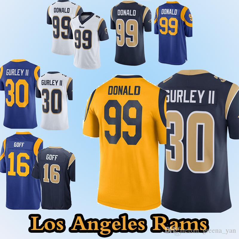 2189fbebe ... free shipping 2019 los angeles rams jerseys 99 aaron donald 30 todd  gurley 16 jared goff