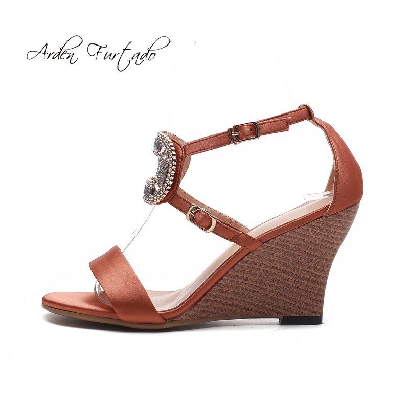 39300a29a Arden Furtado 2018 Summer Fashion High Heels 9cm Wedges Cork Heels Buckle  Strap Crystal Rhinestone Silk Sandals Women S Shoes Silver Shoes Mens  Sandals From ...