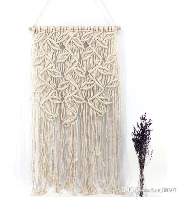 2e353031a3136 Wholesale Handmade Bohemia Fiber Art Macrame Tapestry with Leaf Pattern  Wedding Wall Hanging Natural Handwoven Cotton Thread Craft