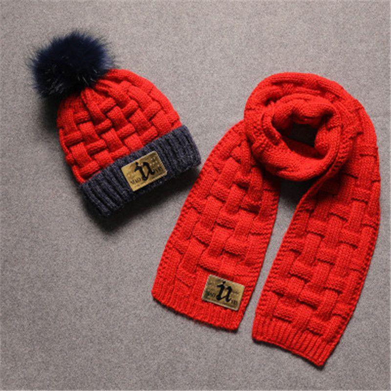Plus Velvet Children S Hat Scarf Two Piece Suit Baby Wool Hat Ear