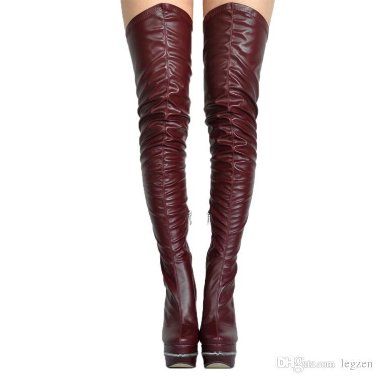 Legzen Sexy Botas largas sobre la rodilla Marca famosa Punta redonda Tacones altos Botas Moda Negro Blanco Vino Rojo Zapatos Mujer Tallas grandes