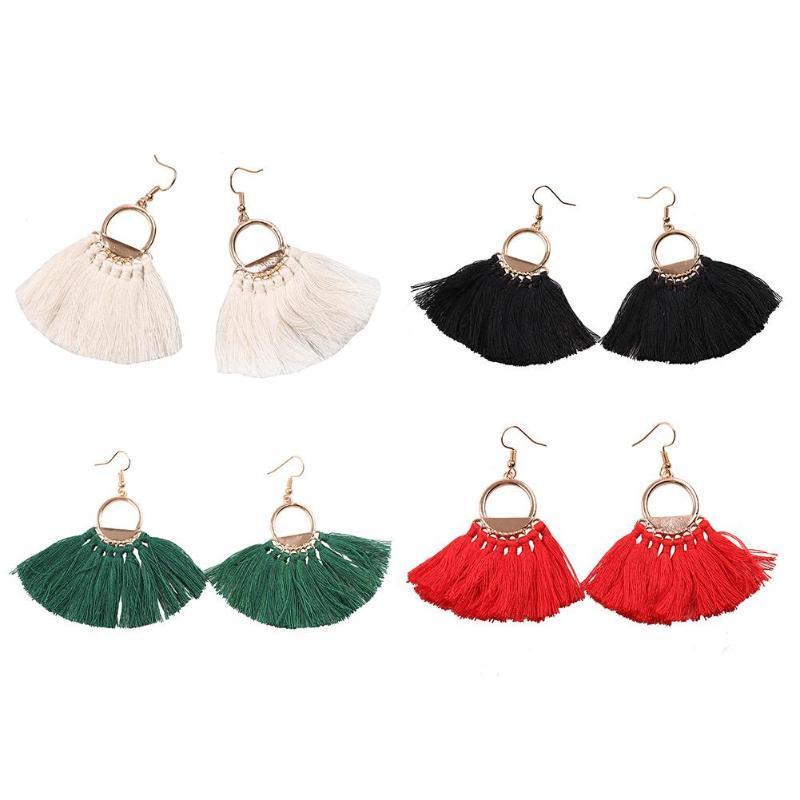 2c314f0a8 Bohemian Ethnic Fan Shape Tassels Hook Long Drop Dangle Earrings For ...
