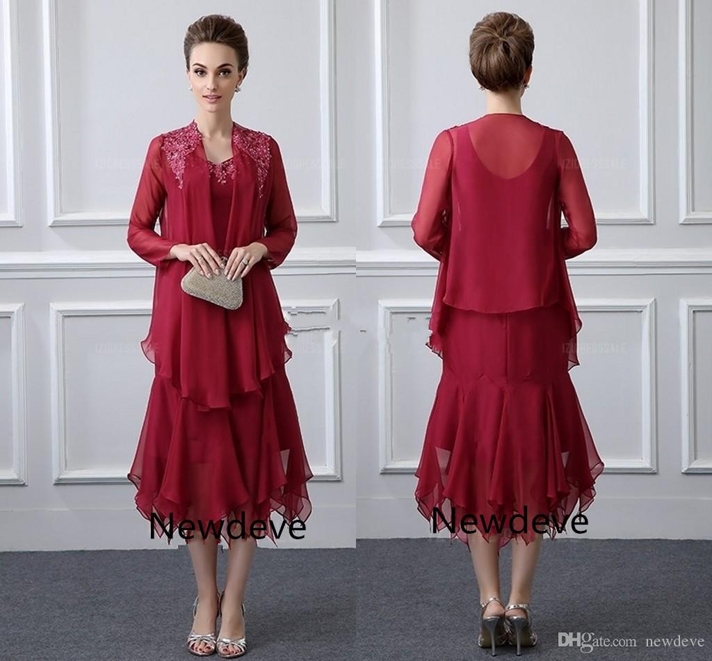 Dark Red Formal Two Pieces Mother Of The Bride Dresses V Neck ...