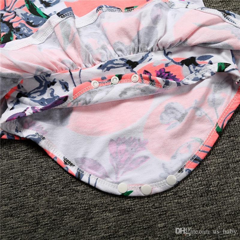 Neugeborenes Blumendruckspielanzug-Baby-Jungen-Mädchen-Sommer-Baumwolloverall Babyoveralls Sunsuits für 3M-3T