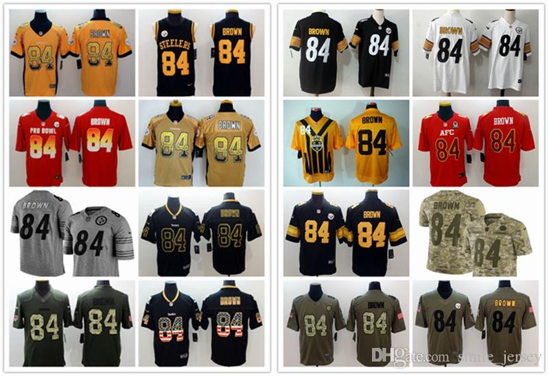 competitive price feade 996c3 2019 New Mens 84 Antonio Brown Pittsburgh Jersey Steelers Football Jerseys  100% Stitched Embroidery Antonio Brown Color Rush Football Shirts