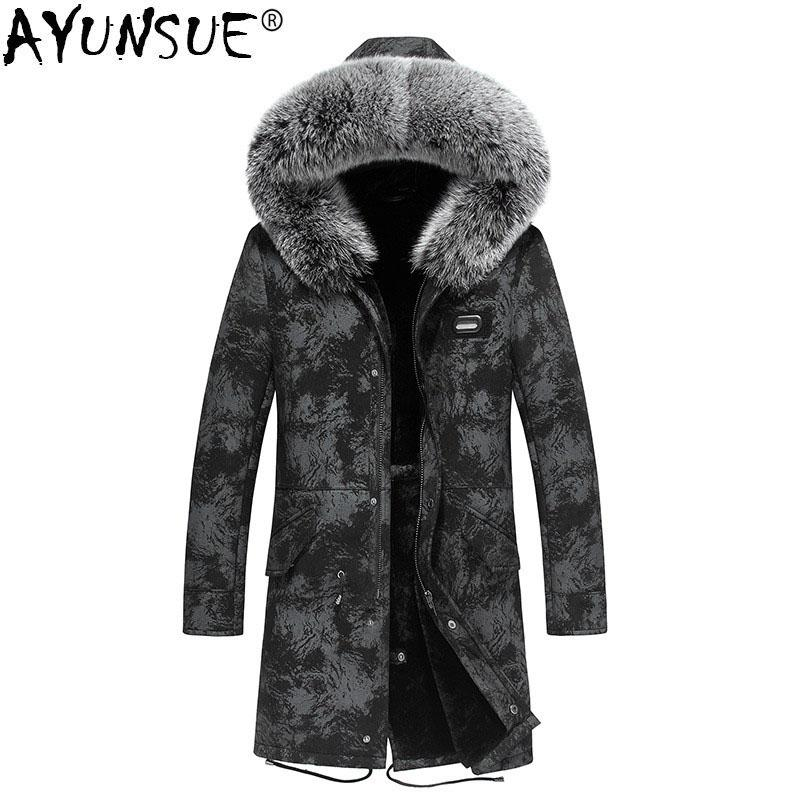 2a43f9002 2019 AYUNSUE Genuine Leather Jacket Natural Wool Fur Liner Parka Winter  Jacket Men Fox Fur Collar Sheepskin Coat Luxury Parkas MY1342 From Vikey08,  ...