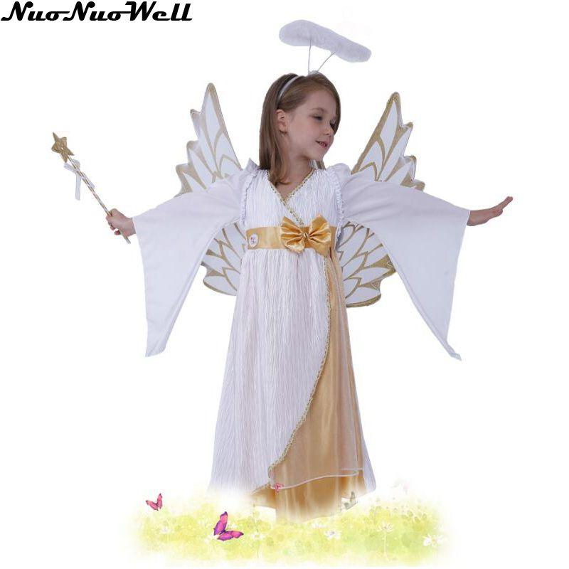 Little Girls Cute Snow Angel White Long Dress Masquerade Carnival Kids Princess Costume with Wing Halloween Children Cosplay