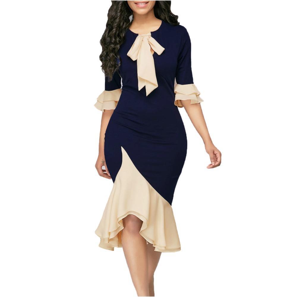 Compre Mujeres Elegantes Vestidos De Cintura De La Vendimia Sexy Tie ...