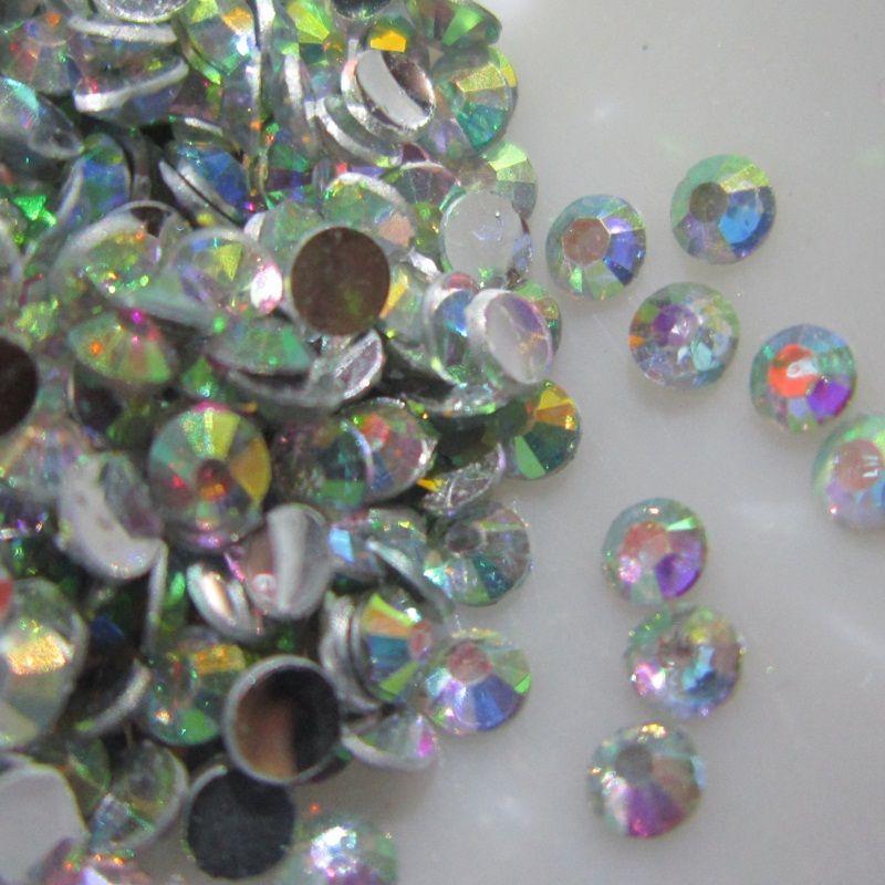 caf8b4503578 Crystal AB 2mm Flatback Resin Rhinestones DIY Phone Nail Art