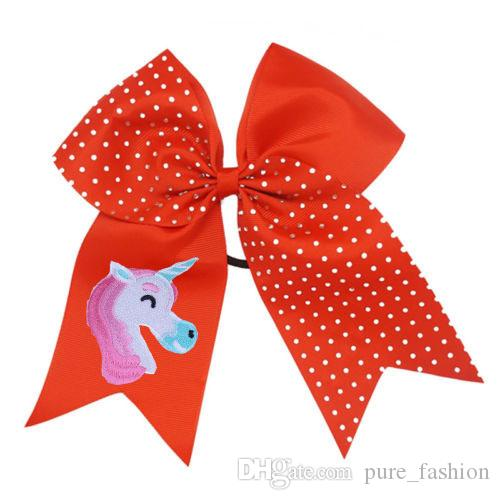 """NEW ARRIVAL Unicorn Hair Bows 7""""Cheerleading Rhinestone Bling Cheer Bows With Elastic Band Embroidered Unicorn Ponytail Bow For Girls"""