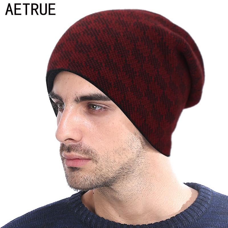 AETRUE Fashion Knitted Hat Winter Beanie Men Women Caps Warm Thick ... 5debd6a272