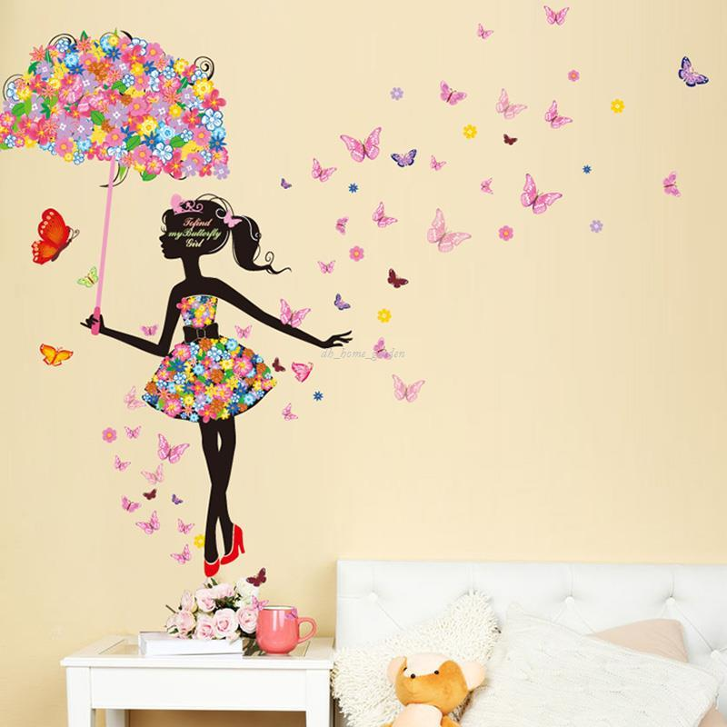 Perfect Fairy Girl Wall Stickers Vinyl DIY Butterflies Wall Art For Kids Rooms  Kindergarten Dormitory Decoration Child Gift Wall Stickers For Kids Rooms  Wall ...