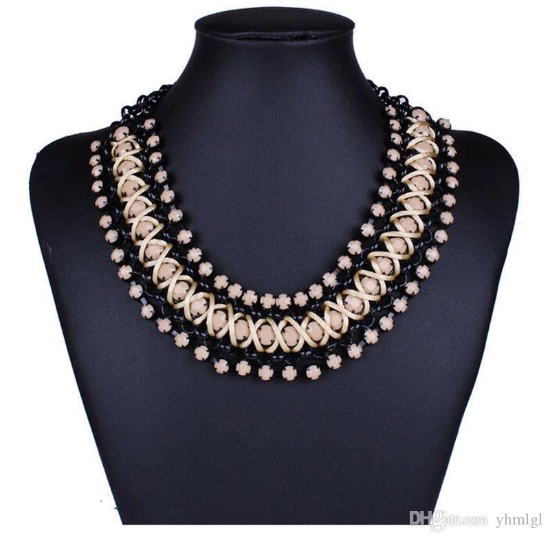 18k Gold Plated Acrylic Crystal Necklace Earring Jewerly Sets