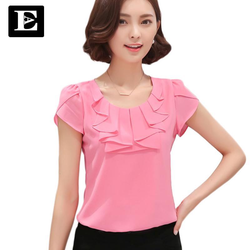 cac0f4f67f6 EveingAsky Office Women Shirts Blouses White Pink Purple Elegant Ladies  Chiffon Blouse Short Sleeve Womens Tops Chemise Femme