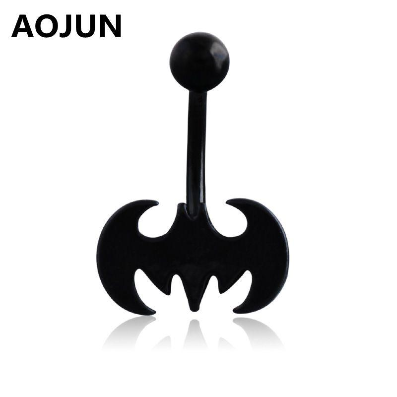 Aojun Black Bat Batman Belly Button Ring Navel Piercing Anti Allergic Material Surgical Steel Body Jewelry For Women Men Qh635
