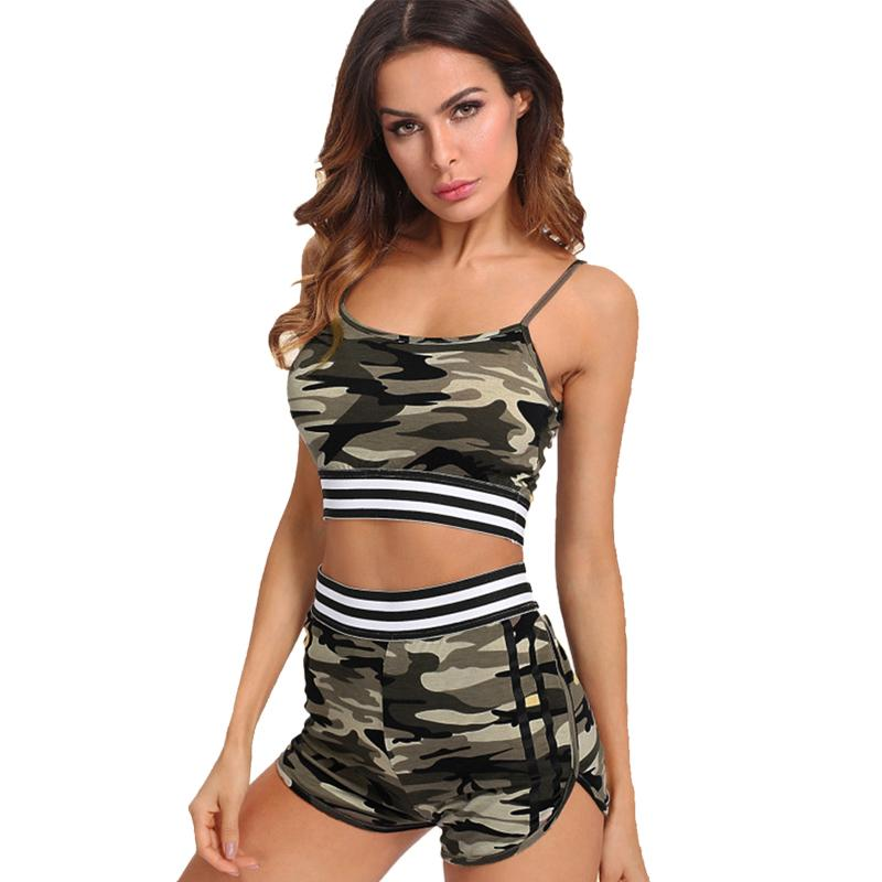 09e3a68153 2019 Women Two Piece Outfits Sexy Shorts Fitness Camouflage Vest Tank Top  Sportswear Sport Clothing Suit Set Hot Pants Gym Sportsuits From Cumax