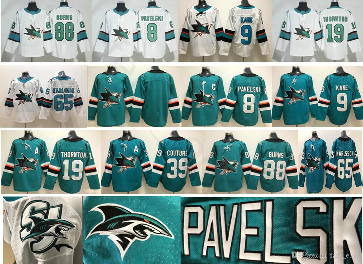 cheap for discount e3321 35234 San Jose Sharks Hockey 8 Joe Pavelski 9 Evander Kane 19 Joe Thornton 39  Logan Couture 88 Brent Burns 65 Erik Karlsson Jersey