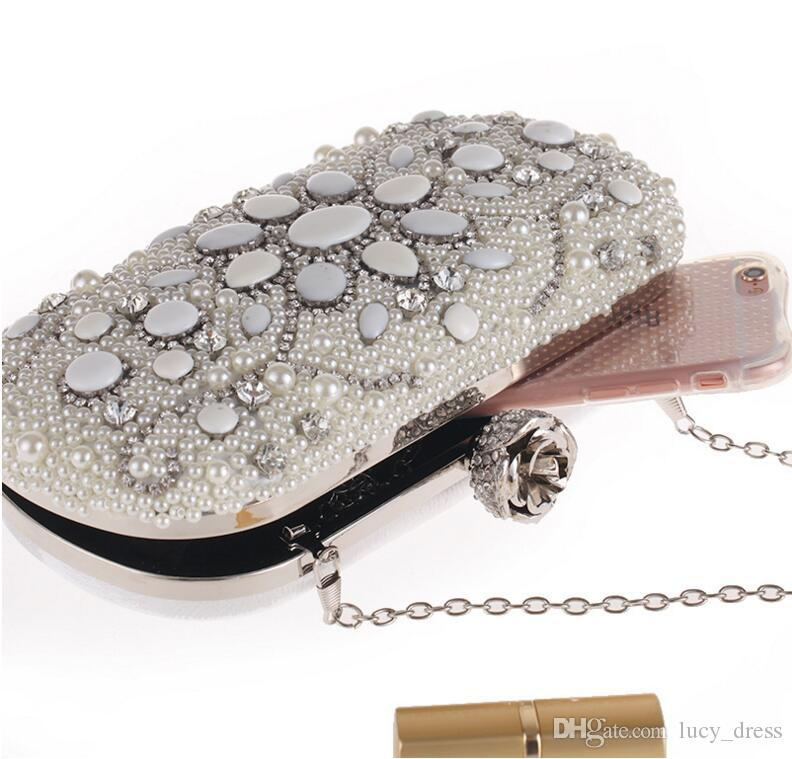 Pearl Small Bag Set Diamond Dinner Party Bag European and American Fashion Chain Bridal Hand Bags