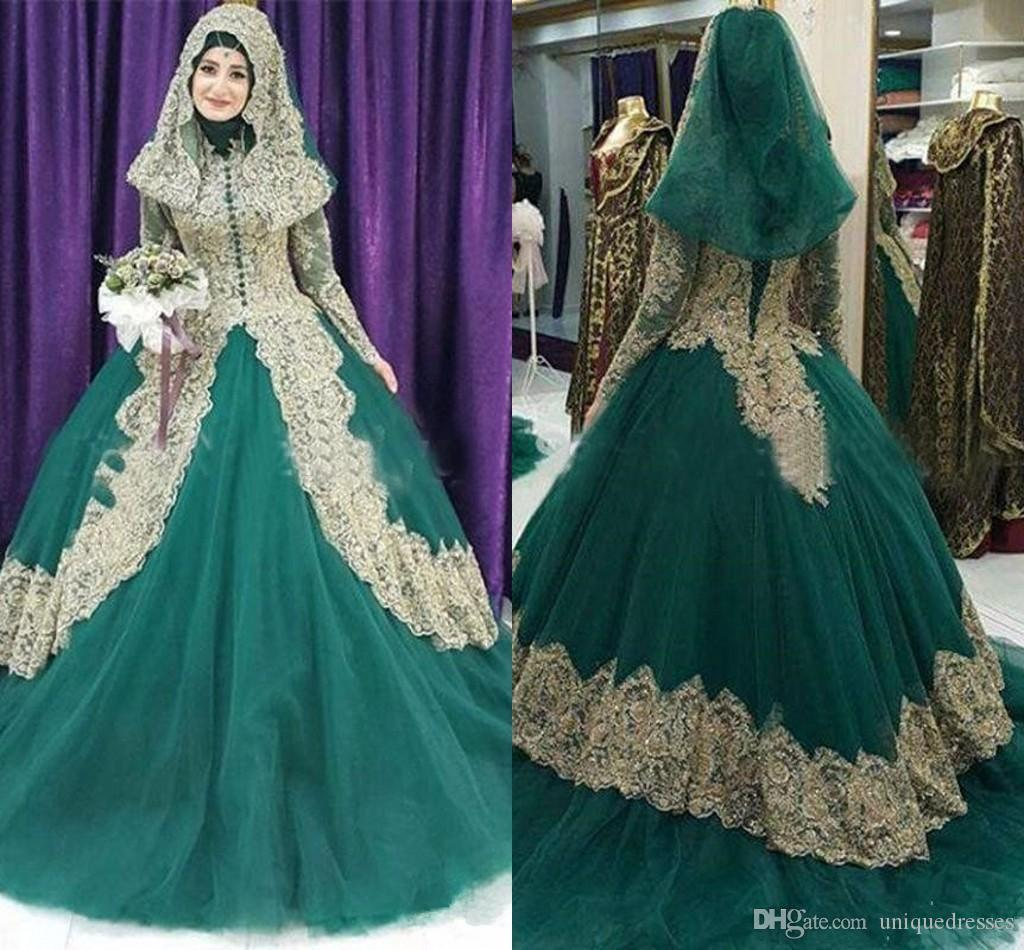 2018 Vintage Dubai Arabia Kaftan Ball Gown Prom Dresses High Neck Long Sleeves With Gold Appliques Muslim hijab Evening Gowns Plus Size