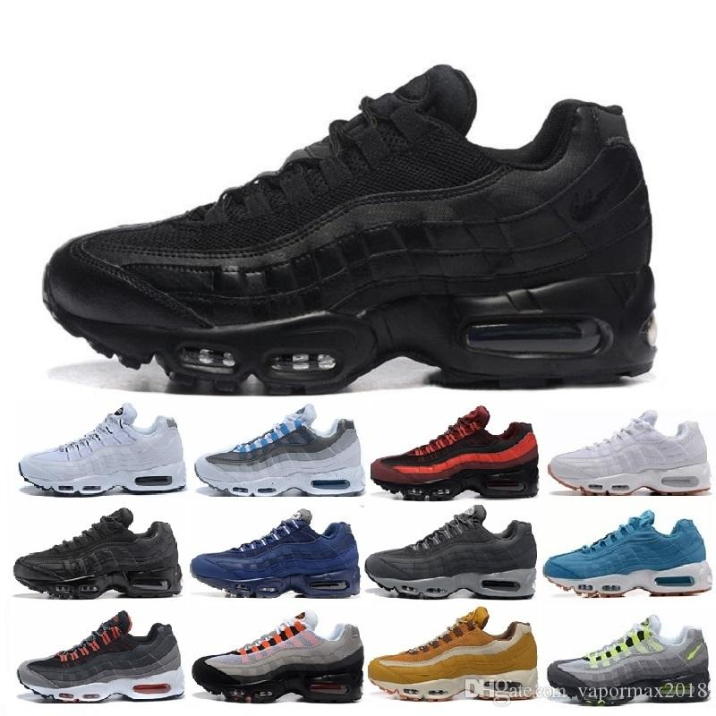 pretty nice 4f57a 721c9 Acheter Nike Air Max 95 Airmax Pas Cher Sport Sneakers Chaussures Classique  95 Hommes Et Femmes Chaussures Noir Armée Vert Sport Entraîneur Coussin  Maille ...