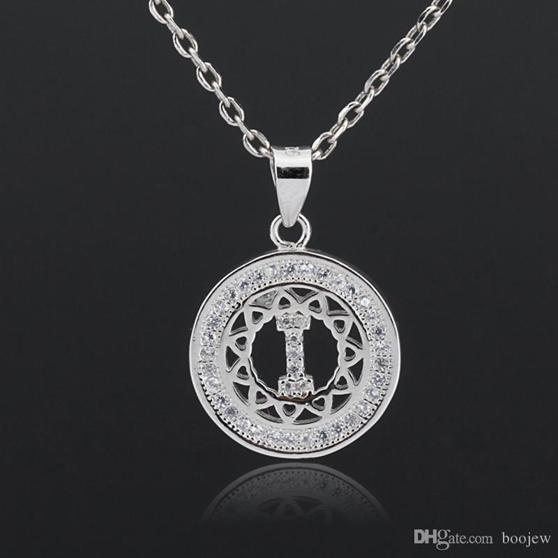 New fashion Letter I Pendant Charm Zircon Stone 925 Sterling Silver Collarbone Chain for Women Girls