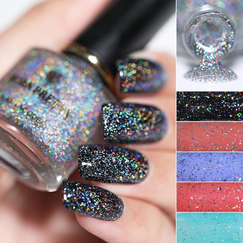 BORN PRETTY 6ml Holographic Top Coat Nail Polish Sequins Glitter ...