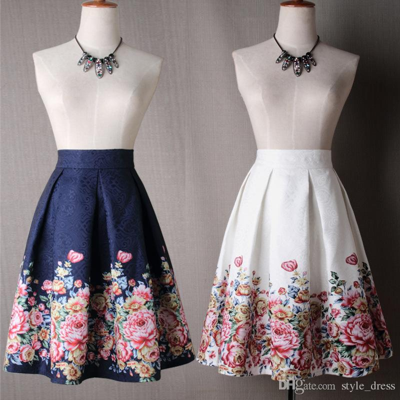 71a936a69 2019 Women Midi Skater Skirt Vintage Floral Printed High Waist Pleated A  Line Skirts From Style_dress, $20.11 | DHgate.Com