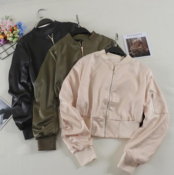 97b6c847be4a 2018 Frühling Herbst neue Frauen kurze Armee grüne Jacke Mantel Frauen BF  Wind hohe Taille Baseball Jacken Student Aprikose Mäntel