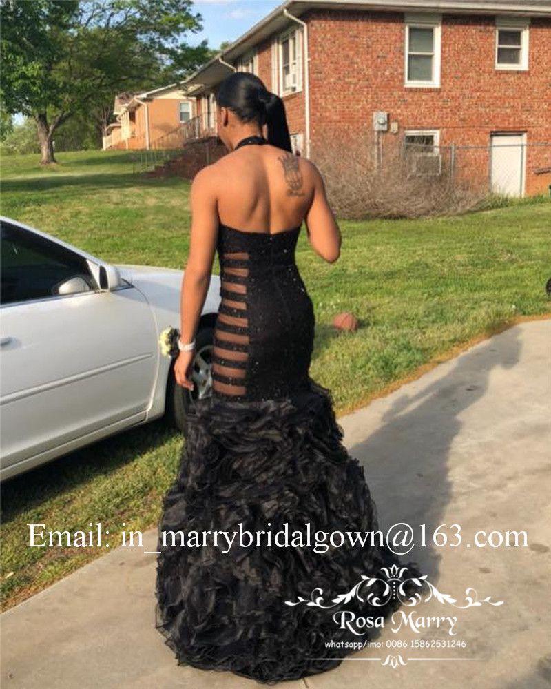 Sexy Black Girls Sereia Vestidos de Baile 2K19 Plus Size Ruffles Organza Saia 2020 Africano Árabe Casal Moda Pageant Evening Partido Vestidos