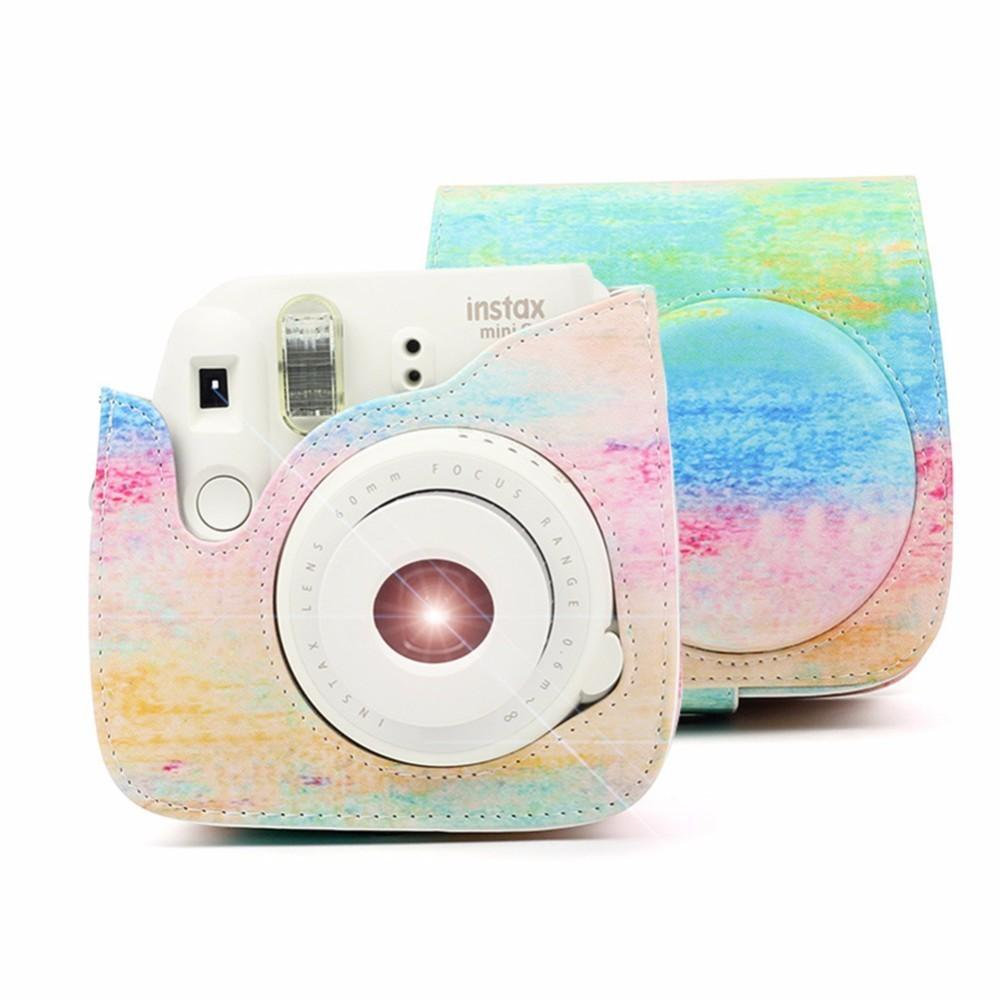 Rainbow Color PU Leather Instant Camera Shoulder Bag Protector Cover Pouch Case For Instax Mini 8 min8+ Mini 9 Camera