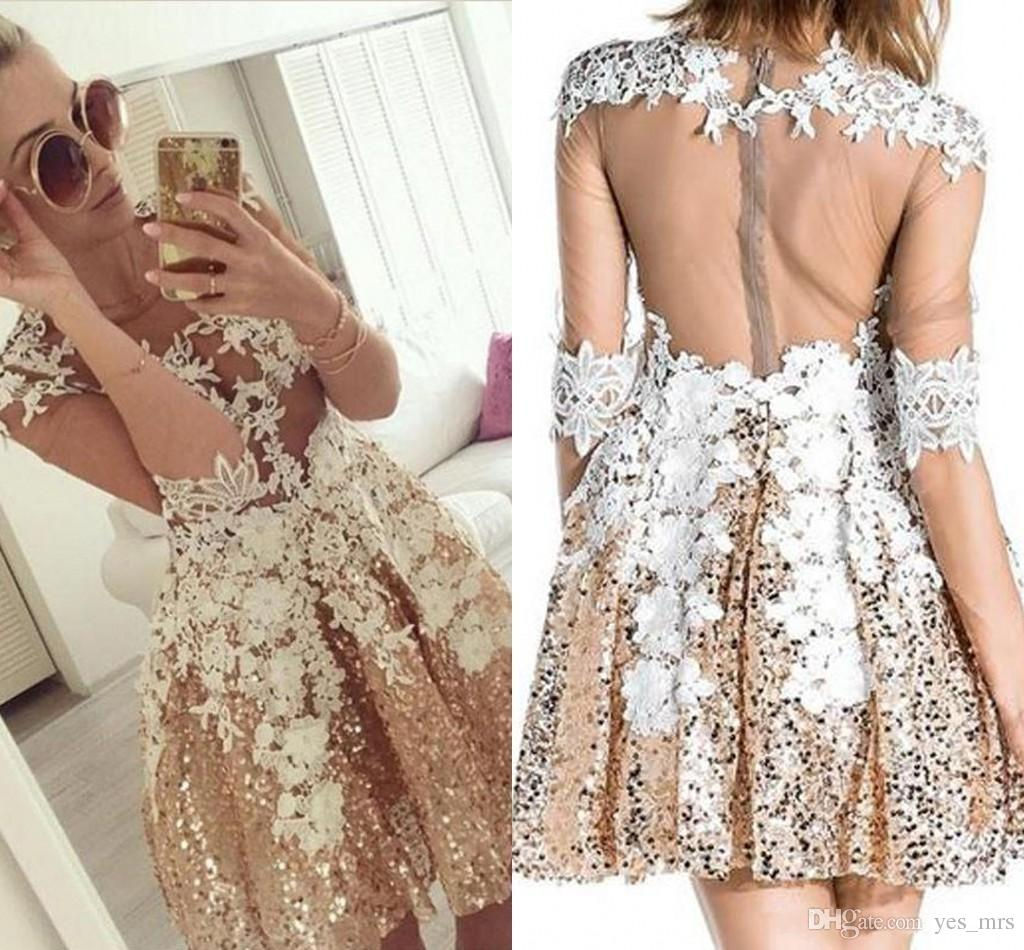 7205315c5b650 2019 New Gold Sequined Homecoming Dresses A-Line Long sleeves Lace Tulle  Appliques Illusion Short Party Graduation Plus Size Cocktail Gowns
