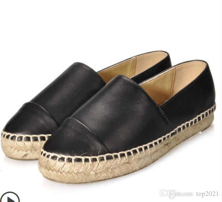 5c56917f8d0cf Women Espadrilles Fashion Brand Ladies Lambskin Thick Bottom Casual  Original Designer Luxurious Genuine Leather Loafers Flats Shoes Designer  Shoes White ...
