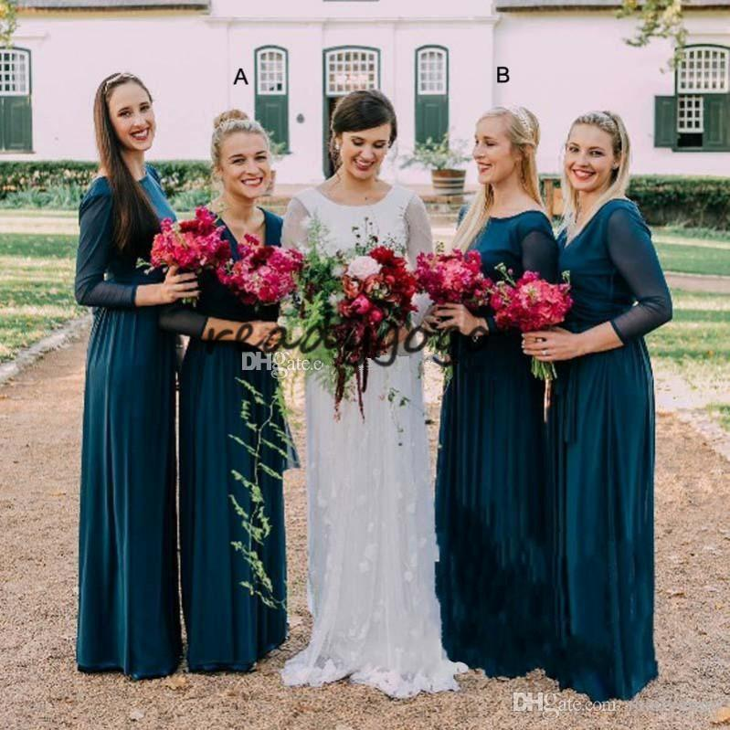 3662d297646 2018 Teal Blue Bridesmaids Dresses A Line Floor Length Chiffon Long Beach  Garden Prom Party Wedding Guest Gowns Cheap Customized Plus Size Pale Blue  ...