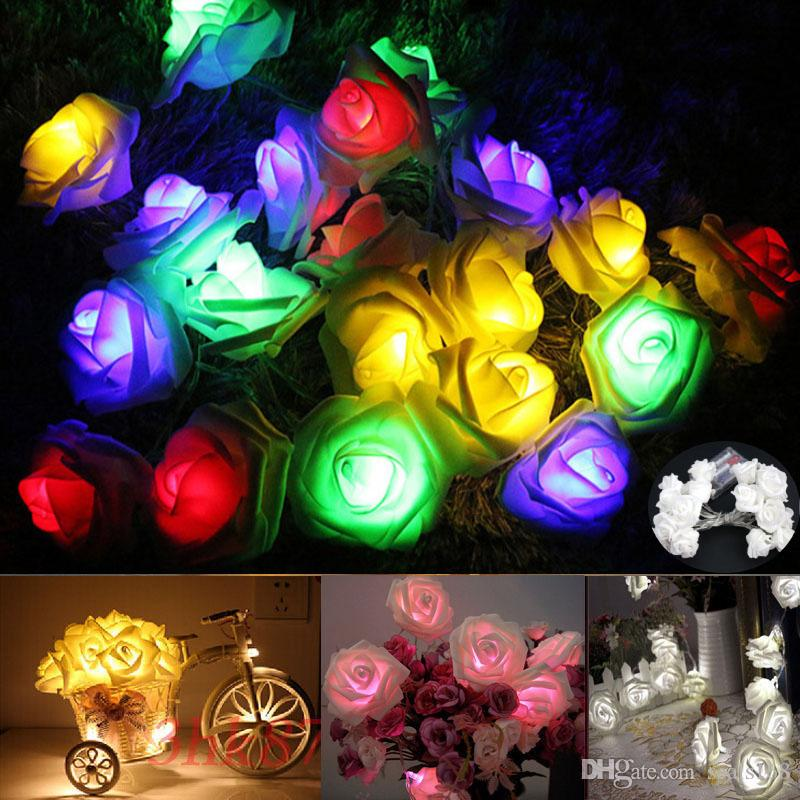 Colorful Christmas Lights On House.Led Rose Flower Fairy String Lights For 10 Led 20led Battery Powerd Christmas Wedding Party Bar Decoration 7 Colors Dhl Hh7 1730