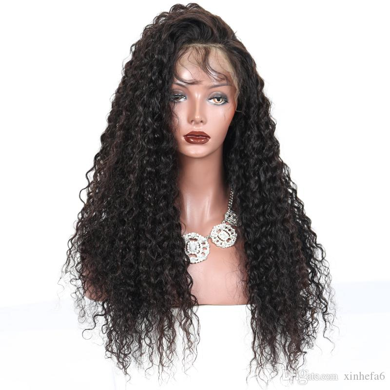 8A 180density Side Part Kinky Curly 4*4 Silk Top Full Lace Wigs Malaysian Virgin Hair Glueless Lace Front Wig Natural Hairline
