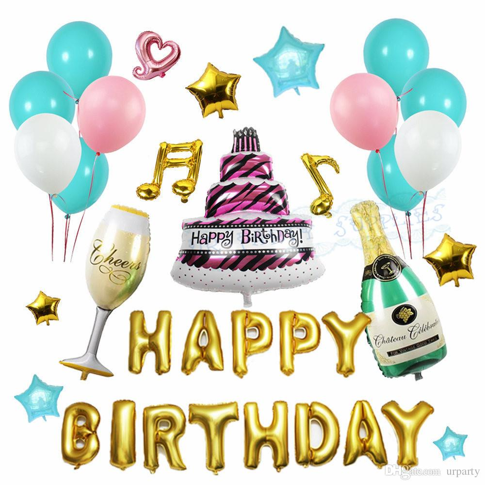 2019 Happy Birthday Balloons Set Champagne Bottle Glasses Aluminium