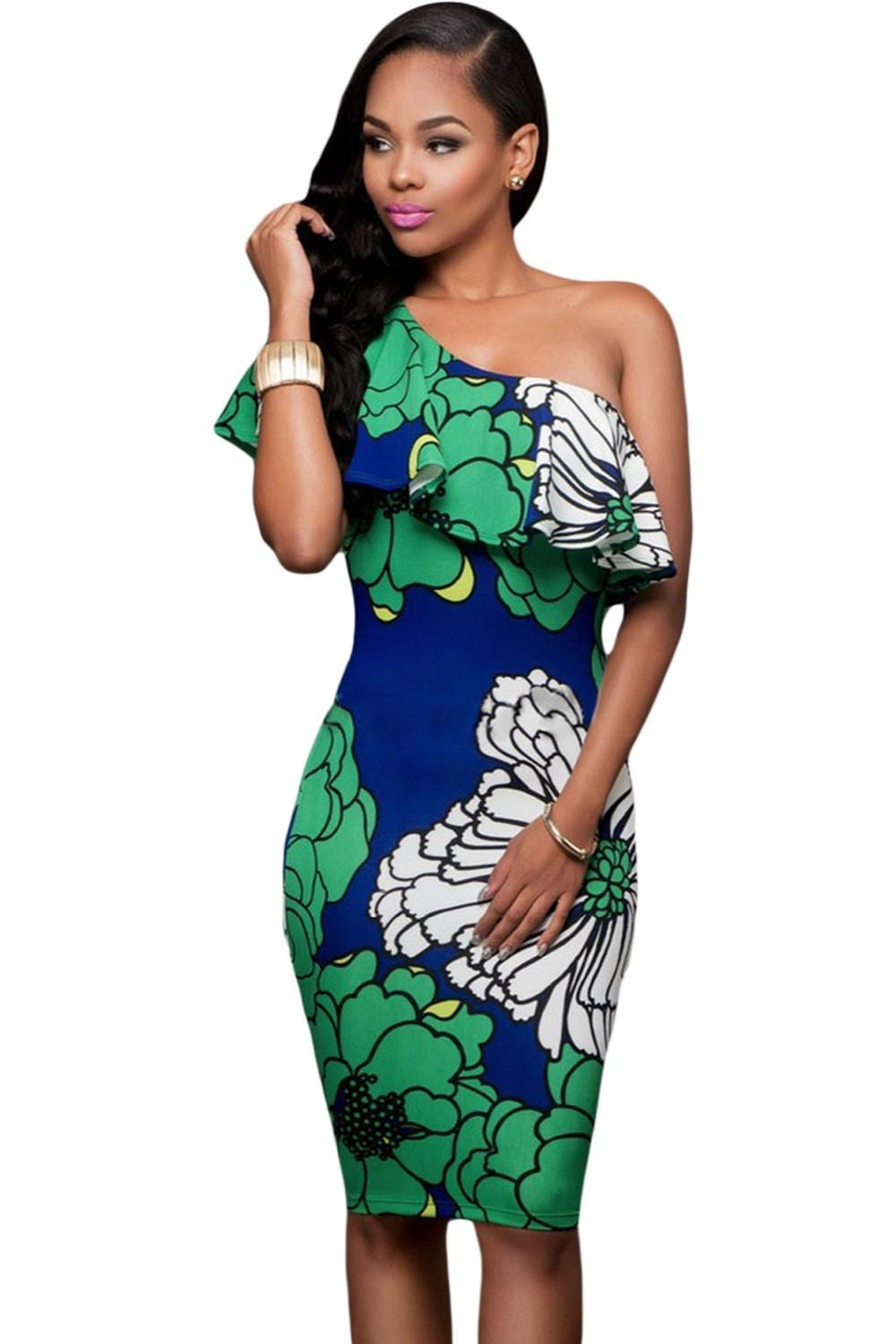 2018 New Pattern Strapless Flower Printing Off Shoulder One Shoulder Sexy  Bodysuit Bodycon Dress Dresses Online with  14.38 Piece on Xh871012 s Store  ... c0d0ae70f694